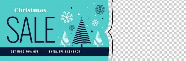 Winterweihnachtsverkaufsfahne mit bildraum Kostenlosen Vektoren