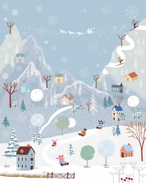 Winterwunderland auf dem land mit schneedecke, glücklich mit kindern, die im winterpark rodeln, und paar mit skifahren auf dem berg Premium Vektoren