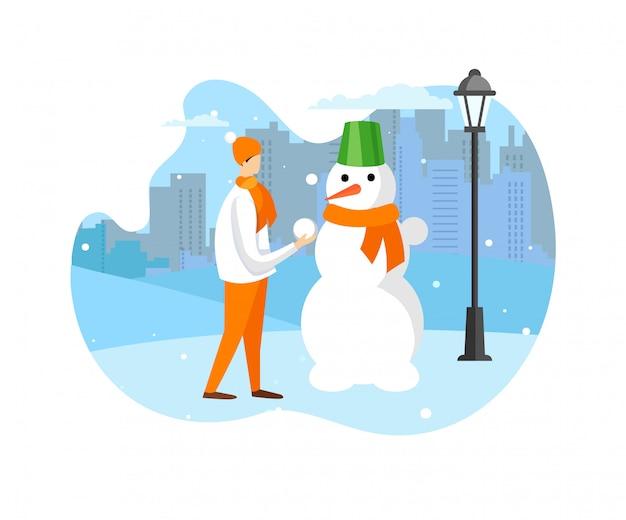 Winterzeit spaß und outdoor-aktivität für kinder Premium Vektoren