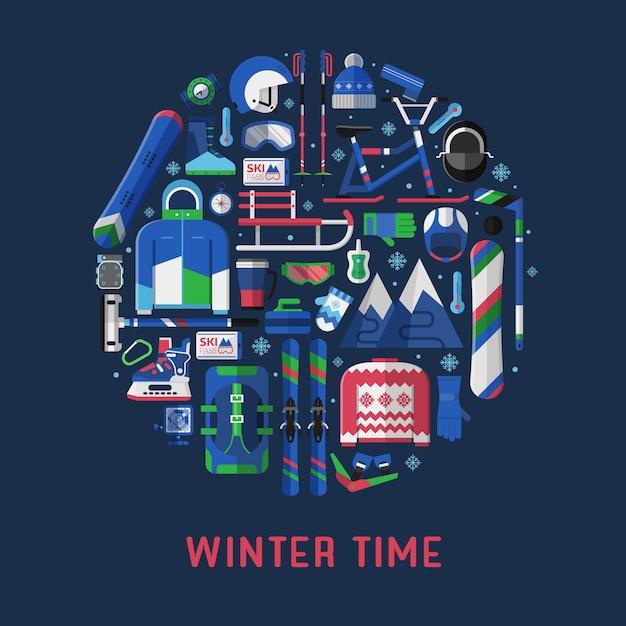 Winterzeitkartenschablone mit schneeaktivitätsausrüstung, die im kreis stilisiert wird. Premium Vektoren