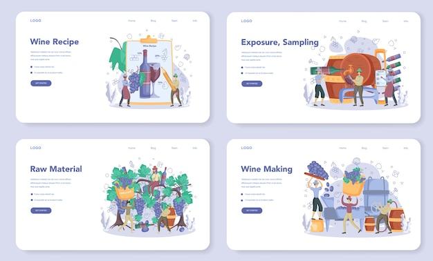 Winzer web banner oder landing page set Premium Vektoren