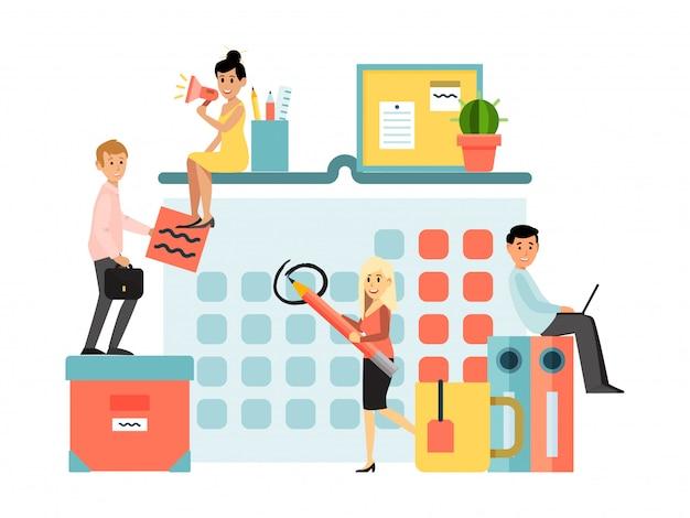 Winzige charakter geschäftsmann geschäftsfrau planungsarbeit isoliert auf weiß, illustration. business teamwork männlich weiblich. Premium Vektoren