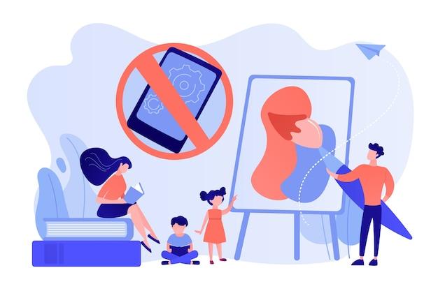 Winzige eltern malen und lesen bücher mit kindern und ohne smartphone-zeichen Kostenlosen Vektoren