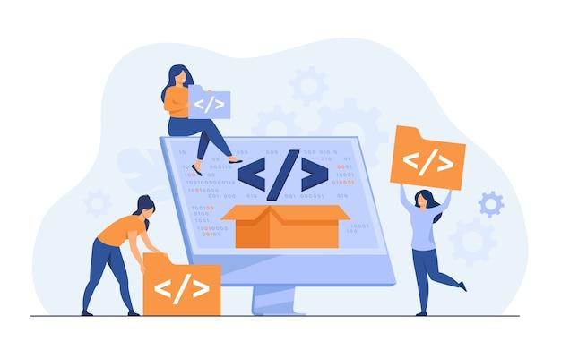 Winzige entwickler-programmierwebsite für flache vektorillustration der internetplattform. cartoon-programmierer in der nähe des bildschirms mit offenem code oder skript. softwareentwicklung und digitales technologiekonzept Kostenlosen Vektoren