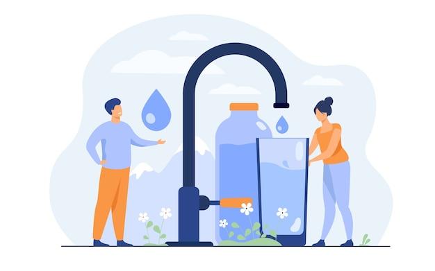 Winzige frau, die sauberes wasser vom wasserhahn mit berglandschaft gießt Kostenlosen Vektoren