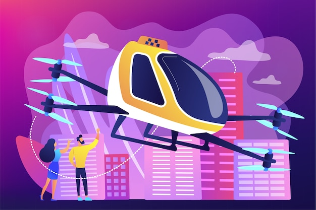 Winzige geschäftsleute fahren mit dem lufttaxi in die stadt. flugtaxi-service, flugplattform, flugtransport-entwicklungskonzept. Kostenlosen Vektoren