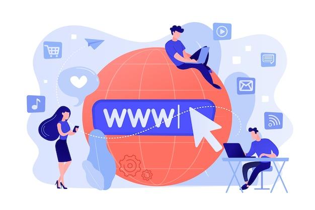 Winzige geschäftsleute mit digitalen geräten beim surfen im internet Kostenlosen Vektoren