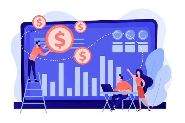 Winzige geschäftsleute und analysten verwandeln daten in geld. datenmonetarisierung, monetarisierung von datendiensten, verkauf des datenanalysekonzepts Kostenlosen Vektoren