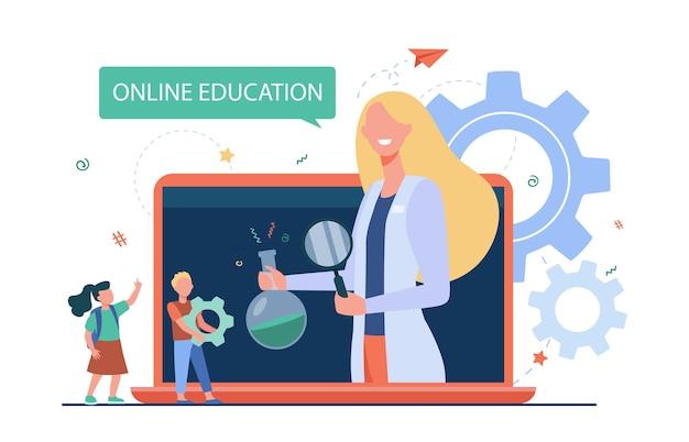 Winzige kinder hören lektion über laptop. grundschule, e-learning, lehrer flache illustration. Kostenlosen Vektoren