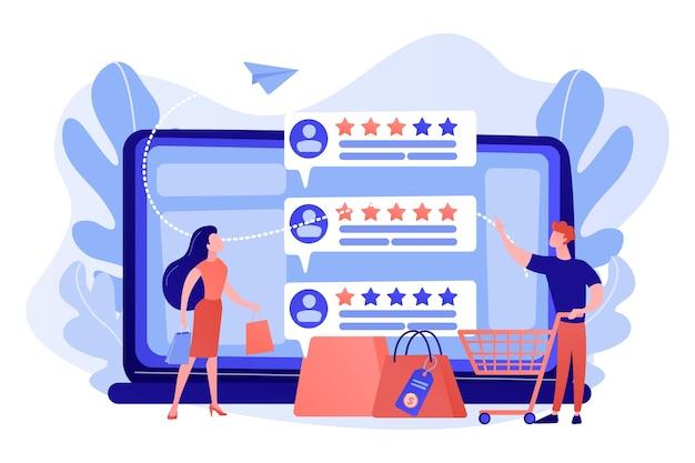 Winzige kunden, die online mit dem reputationssystemprogramm bewerten. verkäufer-reputationssystem, bestbewertetes produkt, illustration des kundenfeedback-ratenkonzepts Kostenlosen Vektoren