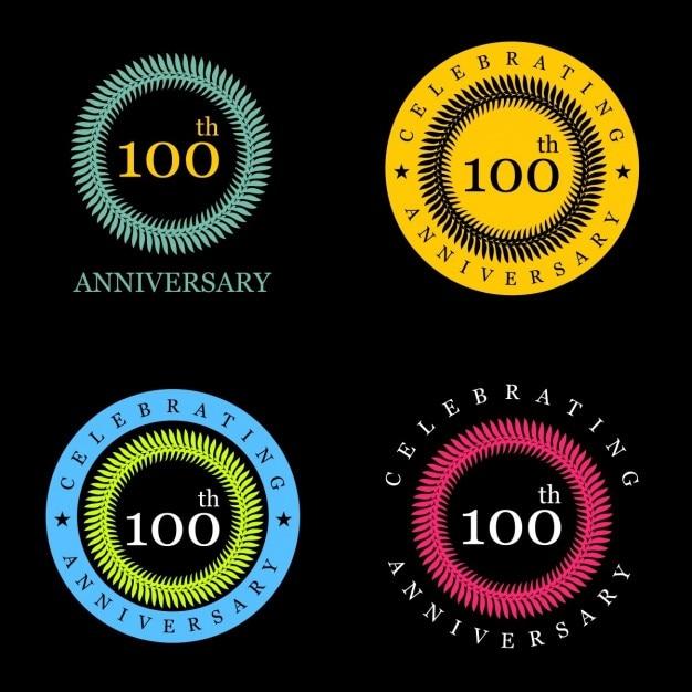 Wir feiern 100 jahre vintage-label Kostenlosen Vektoren