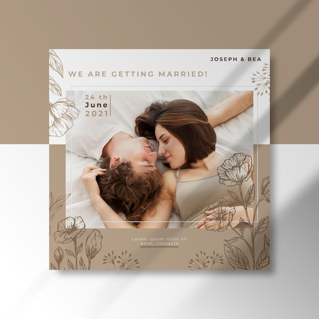 Wir heiraten square flyer Kostenlosen Vektoren