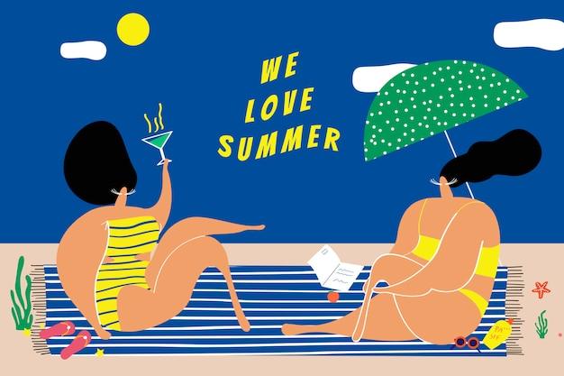Wir lieben den sommer Kostenlosen Vektoren