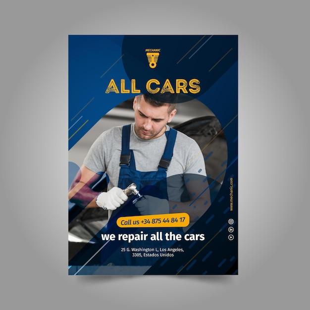 Wir reparieren alle auto poster vorlage Kostenlosen Vektoren