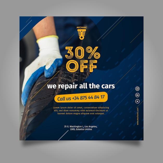 Wir reparieren alle quadratischen flyer-vorlagen für autos Premium Vektoren