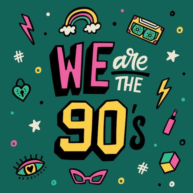 Wir sind die neunziger jahre. beschriftung poster. doodle aufkleber set Premium Vektoren