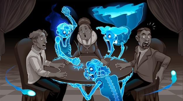 Wir sind nicht tot. karikaturdarstellung einer seance. Premium Vektoren
