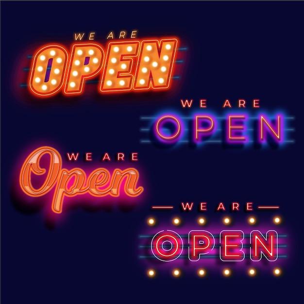Wir sind offen leuchtreklame gesetzt Premium Vektoren