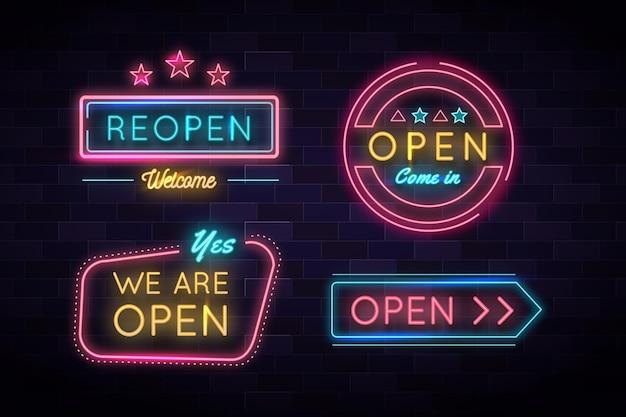 Wir sind offen und wieder im business neonlichtschild Kostenlosen Vektoren