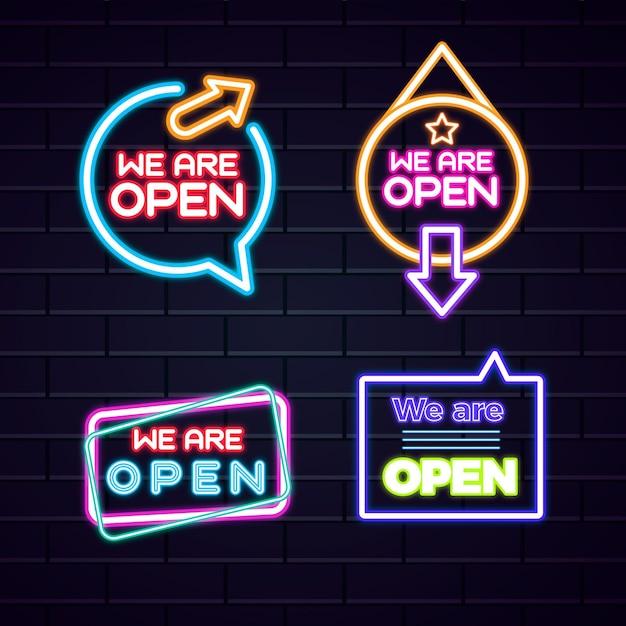Wir sind offene leuchtreklamensammlung Kostenlosen Vektoren