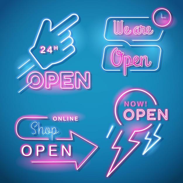 Wir sind offene leuchtreklamensammlung Premium Vektoren