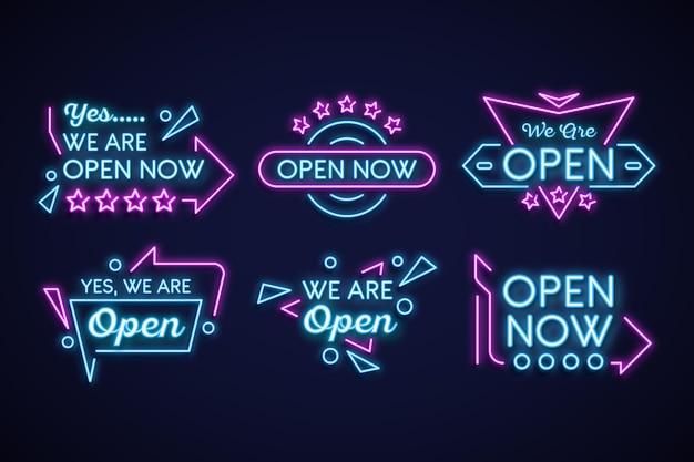 Wir sind offenes neon sign collection konzept Premium Vektoren
