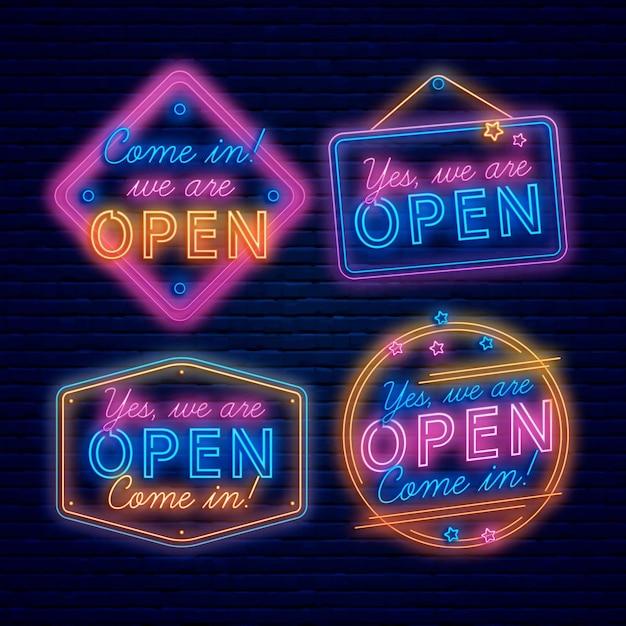 Wir sind offenes schild neon Kostenlosen Vektoren