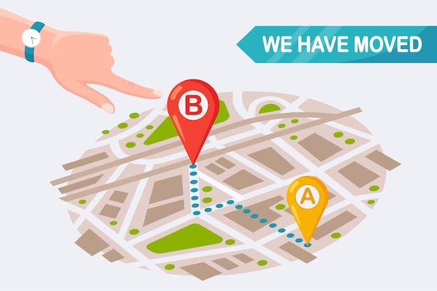 Wir sind umgezogen. neue adresse auf der karte mit pin. kündigen sie eine änderung des bürostandorts an. cartoon design Premium Vektoren