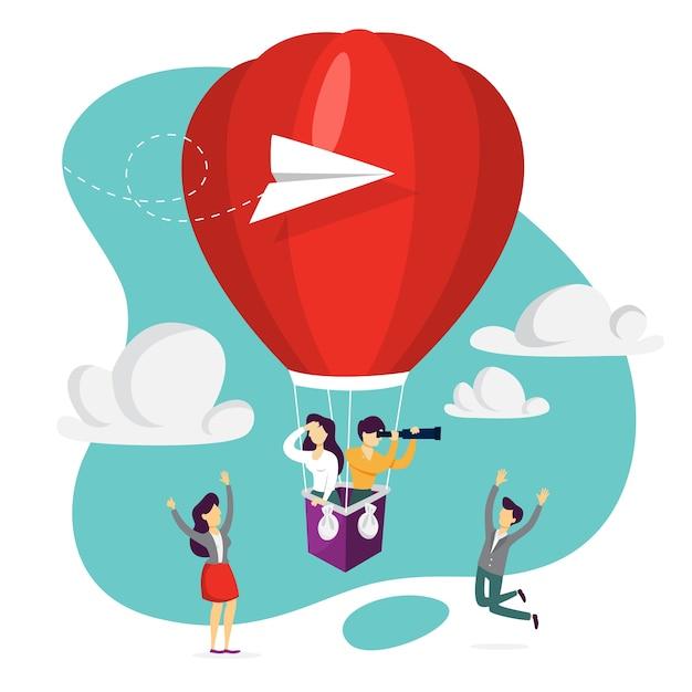 Wir stellen ein. leute auf dem roten luftballon, der einen jobkandidaten sucht. idee der rekrutierung und headhunting. suche nach mitarbeiter für business-team. illustration Premium Vektoren