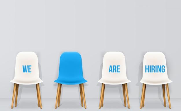 Wir stellen ein. rekrutierung, beschäftigung, interview. Premium Vektoren