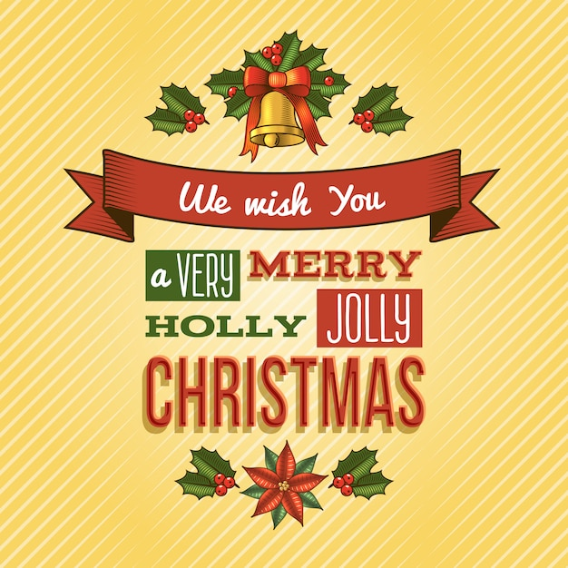Wir wünschen ihnen einen fröhlichen holly jolly christmas schriftzug gruß Kostenlosen Vektoren