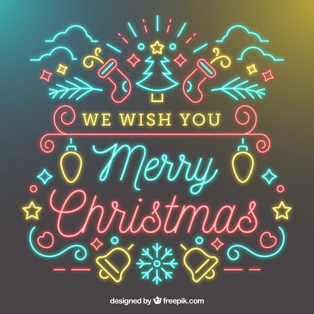 Wir wünschen Ihnen Frohe Weihnachten Neon Hintergrund | Download der ...