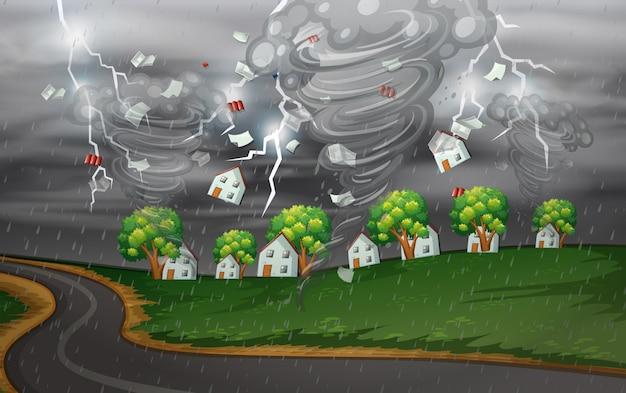 Wirbelsturm schlug das ländliche dorf Kostenlosen Vektoren