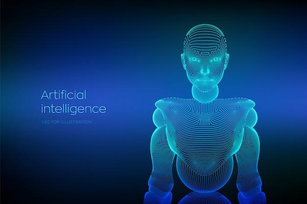 Wireframe weiblicher cyborg oder roboter. abstrakte cyberfrau. Premium Vektoren