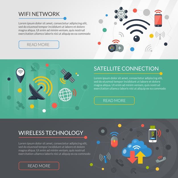Wireless technology 3 horizontale banner-set Kostenlosen Vektoren