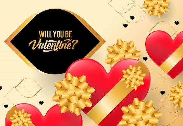 Wirst du mein valentine-schriftzug sein? Kostenlosen Vektoren