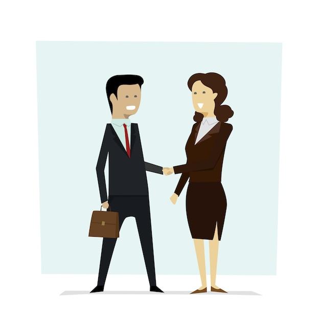 Wirtschaftler männer und frauen, die handpartner rütteln. Premium Vektoren