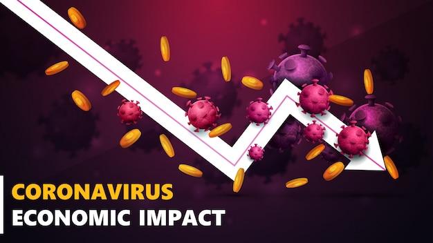 Wirtschaftliche auswirkungen des coronavirus, banner mit weißem pfeil ein fallender wirtschaftlicher graph mit goldmünzen um und umgeben von coronavirus-molekülen. Premium Vektoren