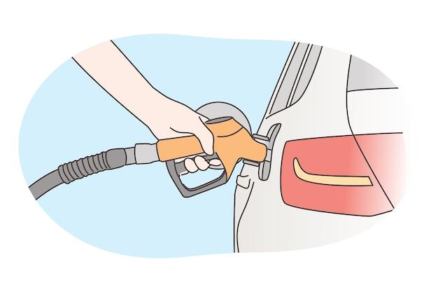 Wirtschaftlichkeit, füllung, benzinkonzept. Premium Vektoren