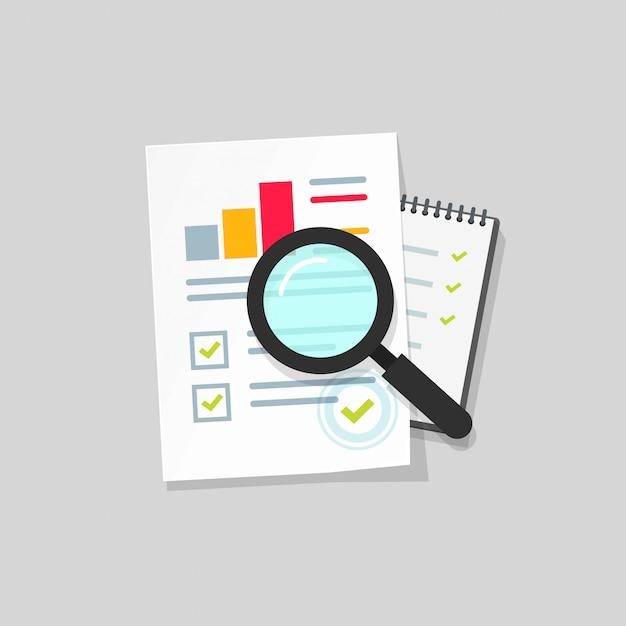 Wirtschaftsprüfungs- oder steuerforschung oder papierseitenliste über flache karikatur der vergrößerungsglasvektor-ikone Premium Vektoren