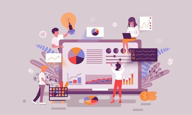 Wirtschaftsstatistik illustration Premium Vektoren