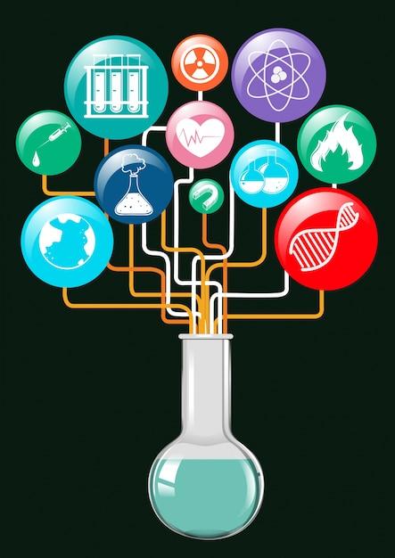 Wissenschaft Symbole und Glasbehälter | Download der kostenlosen Vektor