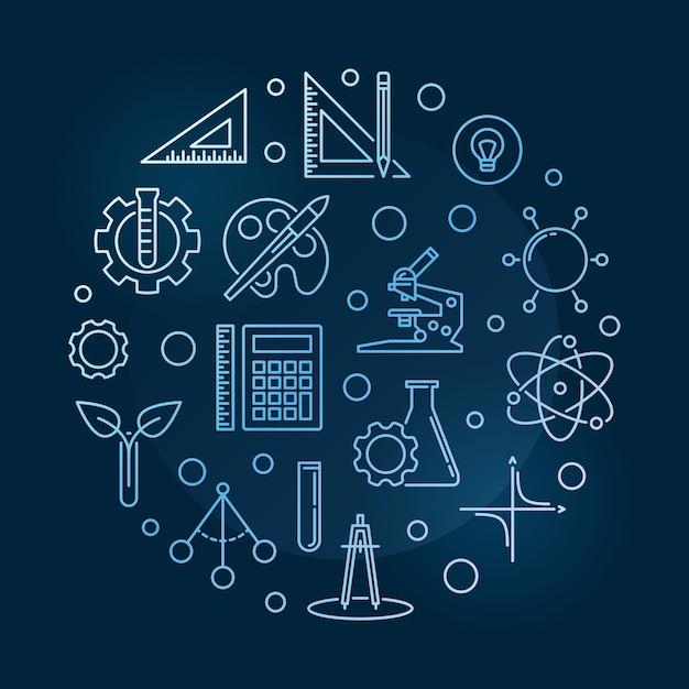 Wissenschaft, technologie, ingenieurwesen, kunst und mathematik Premium Vektoren