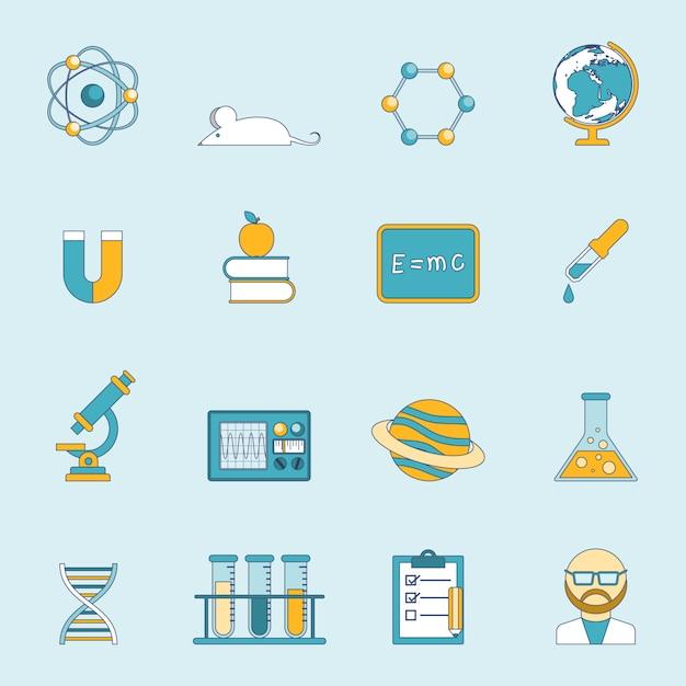 Wissenschaft und studie icon set Kostenlosen Vektoren