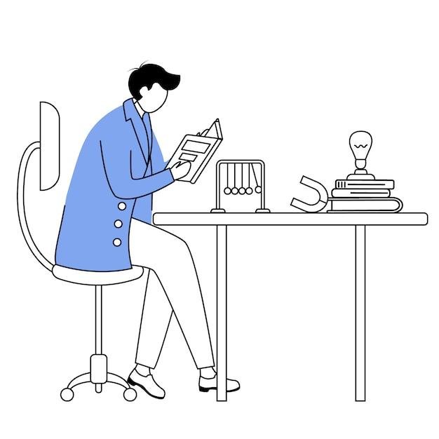 Wissenschaftler an seinem arbeitsplatz flache konturvektorillustration. mann im blauen laborkittel. universitätsprofessor einfache zeichnung. physiker sitzen und lesen buch isoliert umriss zeichentrickfigur Premium Vektoren