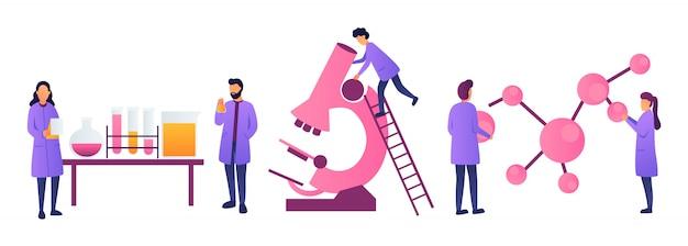 Wissenschaftler arbeiten in wissenschaftlichen medizinischen chemischen oder biologischen laborexperimenten. bildungskonzept für biologie, physik und chemie. ingenieure forschen und experimentieren. - vektor auf lager Premium Vektoren