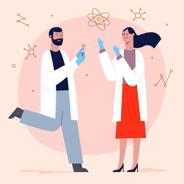 Kostenlos Vektor Wissenschaftler Arbeiten Zusammen Um Einen Impfstoff Gegen Coronavirus Zu Finden