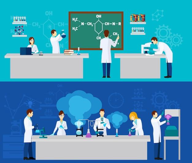 Wissenschaftler-banner-set Kostenlosen Vektoren