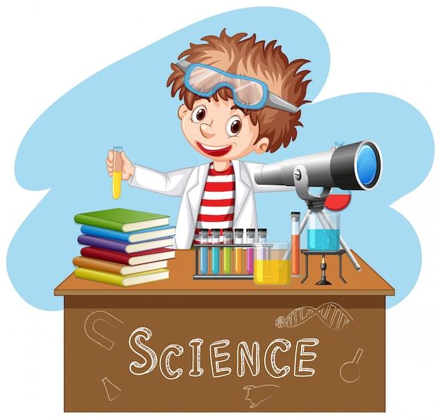 Wissenschaftler, der experiment im wissenschaftslabor tut Premium Vektoren