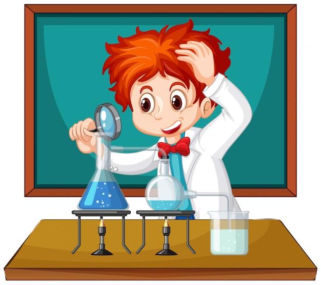 Wissenschaftler, der mit wissenschaftswerkzeugen im labor arbeitet Kostenlosen Vektoren